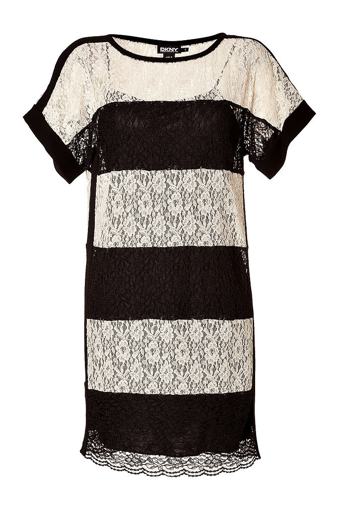Colorblock is always in and feels at its most formal in black and white lace ($215, originally $430).