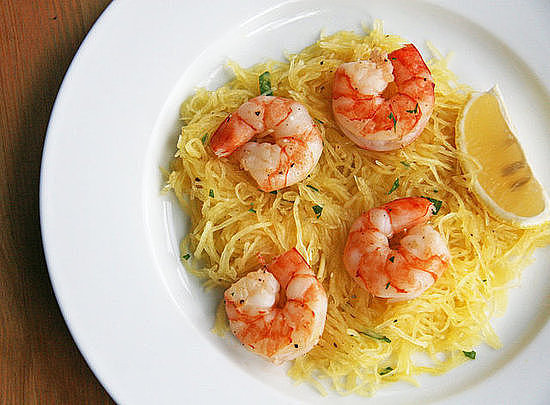 Roasted Shrimp Over Spaghetti Squash