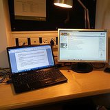 Increase your productivity by adding a second monitor.  Source: Instagram user ashleymp45
