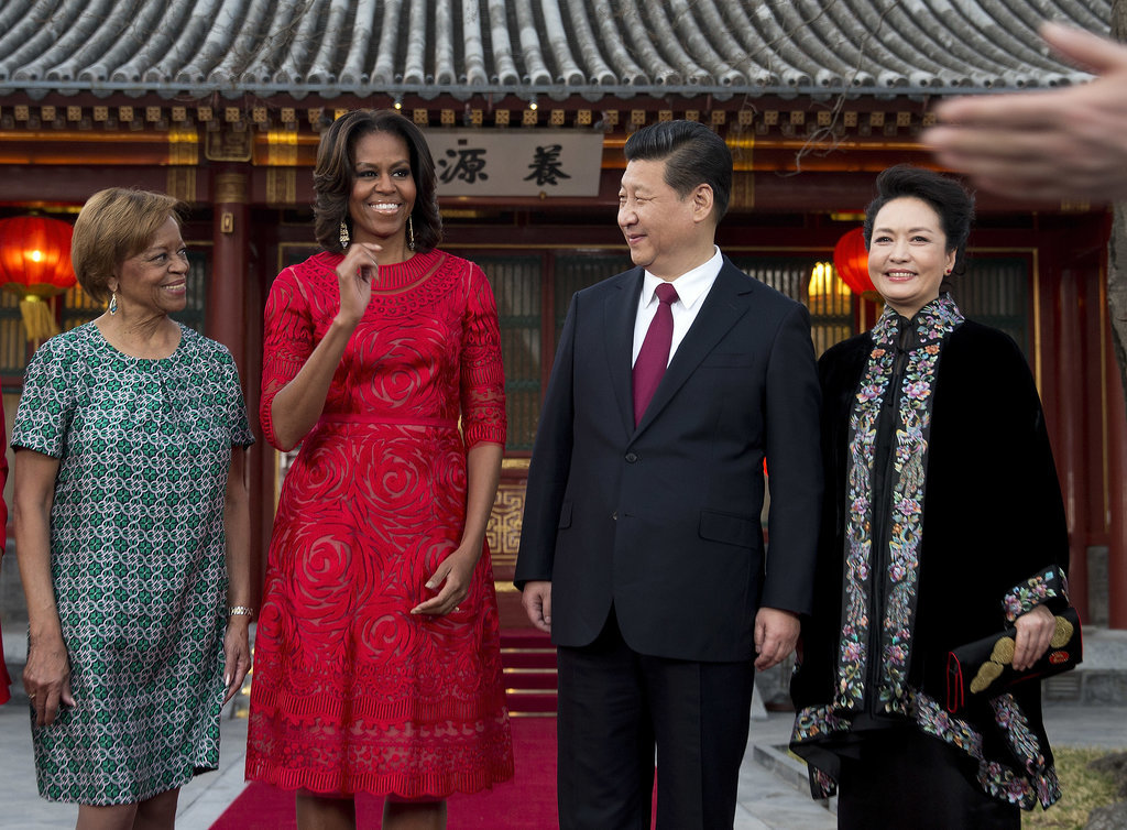 Michelle Obama and her mother, Marian Robinson, shared a moment with Chinese President Xi Jinping and his wife, Peng Liyuan.