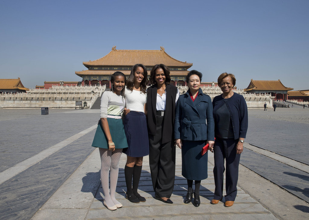 The foursome visited Forbidden City in Beijing with Peng Liyuan, the wife of Chinese President Xi Jinping.
