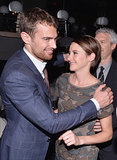 Theo James and Shailene Woodley hugged it out at Marie Claire's Divergent party in NYC on Thursday night.