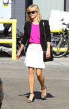 Reese Witherspoon in White Skirt and Black Blazer