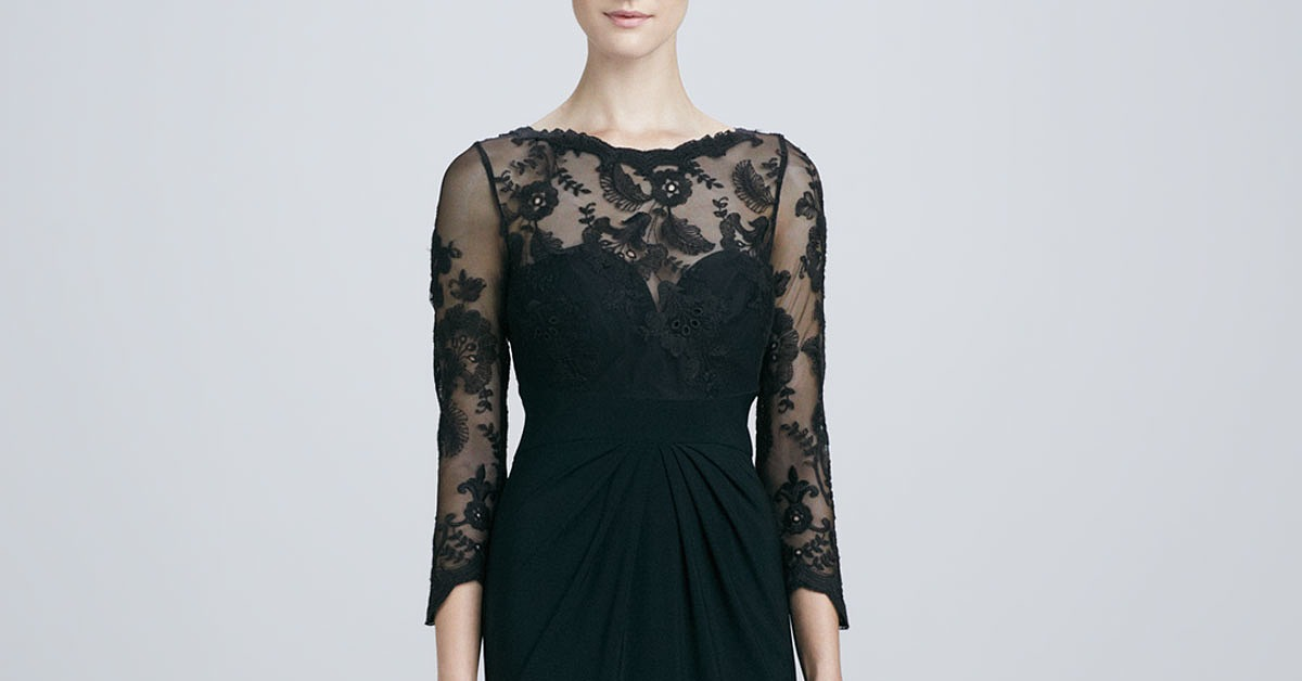 ML Monique Lhuillier sweetheart-neckline black lace-sleeve dress | We ...