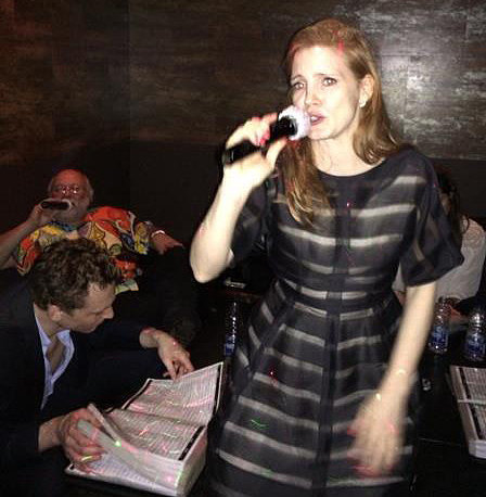 Tom Hiddleston at Jessica Chastain's Karaoke Birthday Party