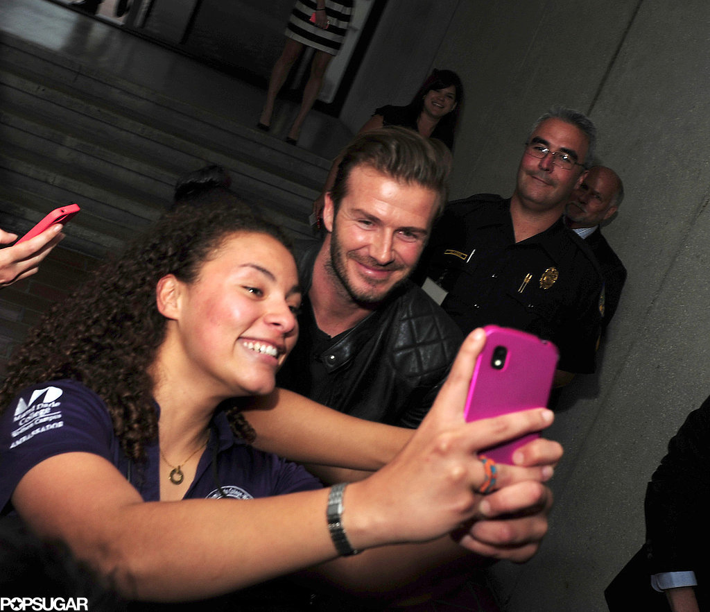 David Beckham snapped a selfie with a fan while visiting Tallahassee in March 2014.
