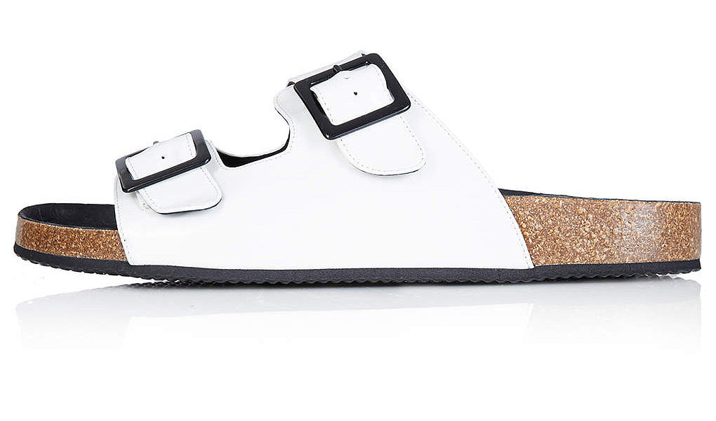 Topshop white leather double-strap cork flat sandals ($65)