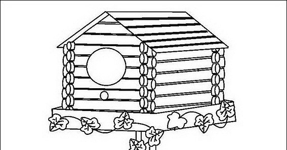 Birdhouse Bird House Coloring Page Coloring Pages