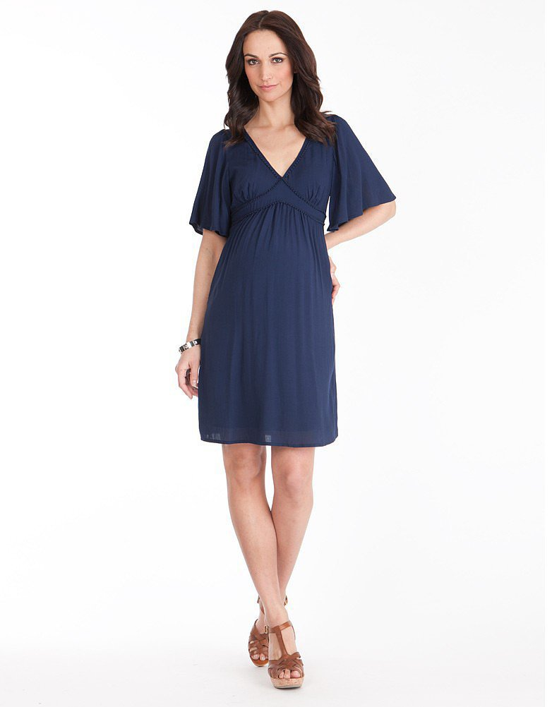 Séraphine Navy Flutter Sleeve Maternity Dress