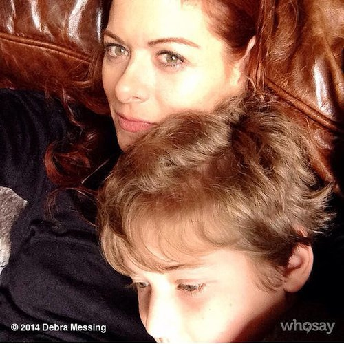 Debra Messing enjoyed some snuggle time with her son, Roman. Source: Instagram user therealdebramessing