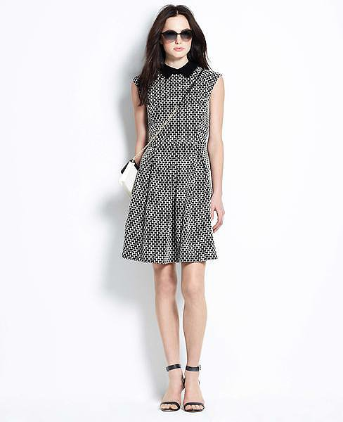 Ann Taylor Jacquard Pleated Dress