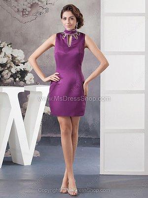 Sheath/Column High Neck Satin Short/Mini Beading Cocktail Dresses