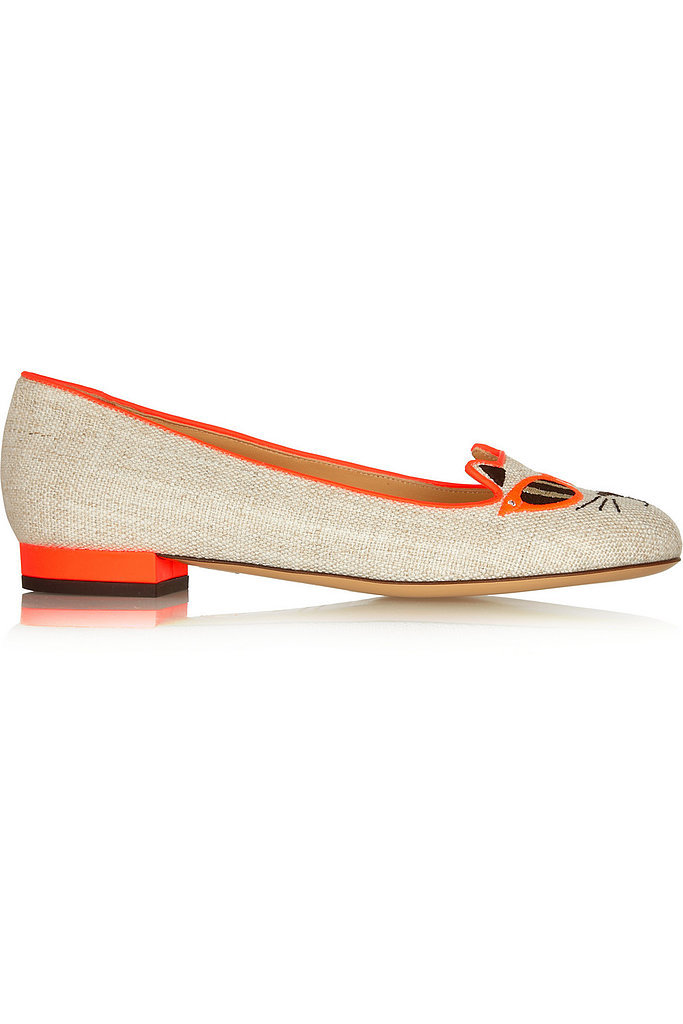 Charlotte Olympia Sunkissed Kitty Canvas Flat in Orange ($695)