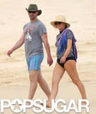 Amy Poehler Slips Into a Swimsuit For a Beach Stroll With Nick Kroll