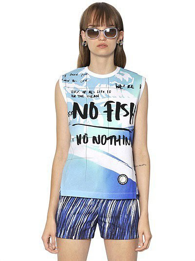Kenzo No Fish Printed Cotton Jersey T-Shirt ($196)