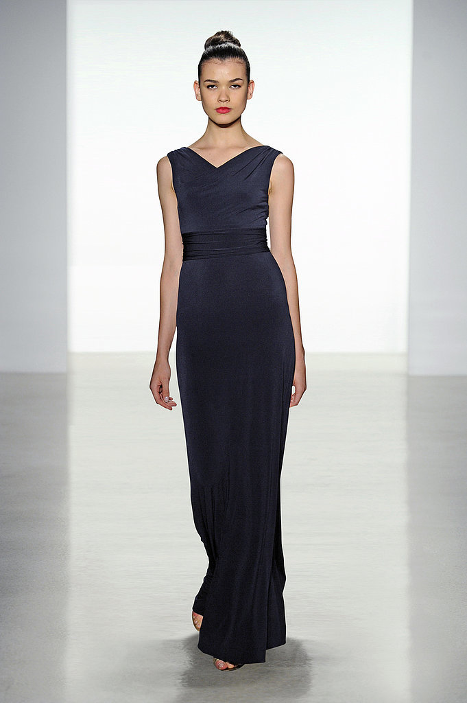 Amsale jersey high-neck long bridesmaid dress in black Photo courtesy of Amsale