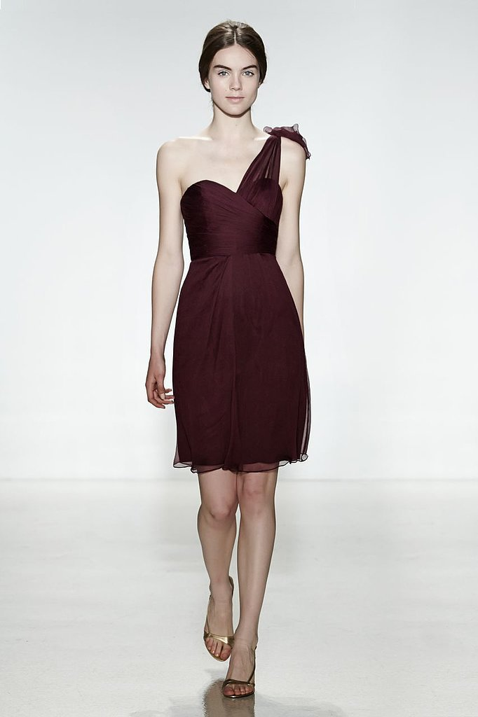 Amsale chiffon one-shoulder sweetheart neckline knee-length bridesmaid dress in aubergine Photo courtesy of Amsale