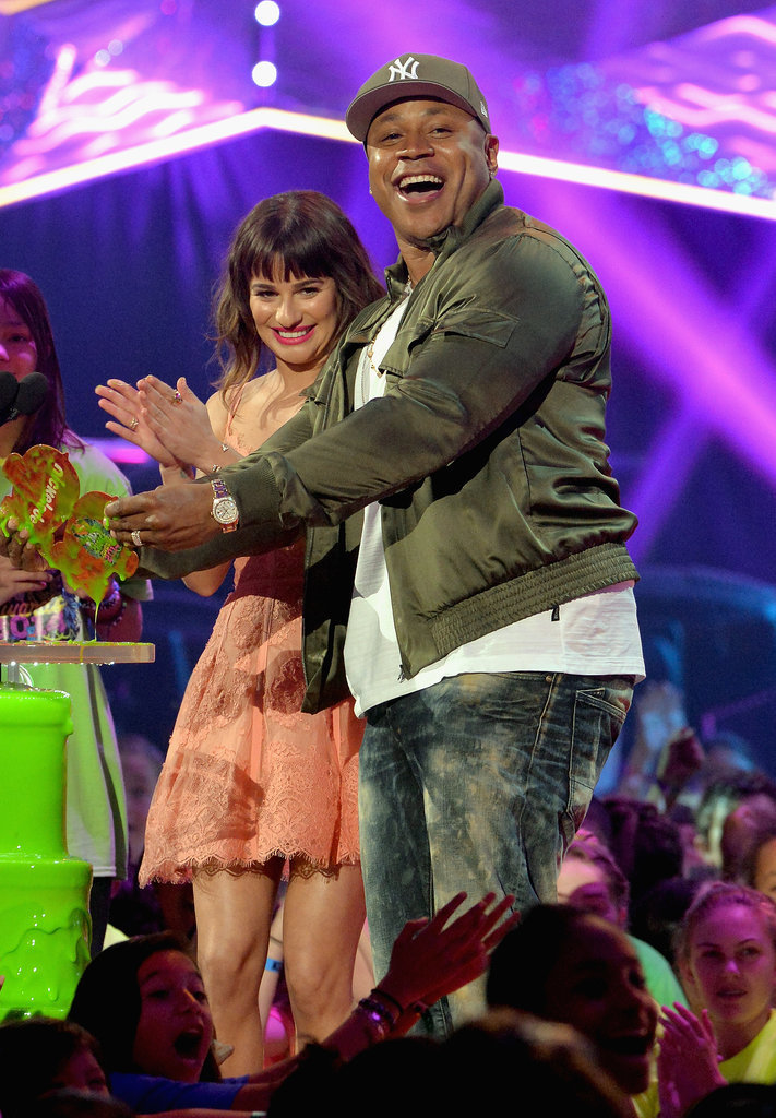 Lea Michele and LL Cool J shared a moment on the stage.