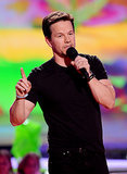 Mark Wahlberg showed off his muscles in a formfitting shirt.