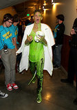 Cody Simpson's outfit looked neon green backstage.