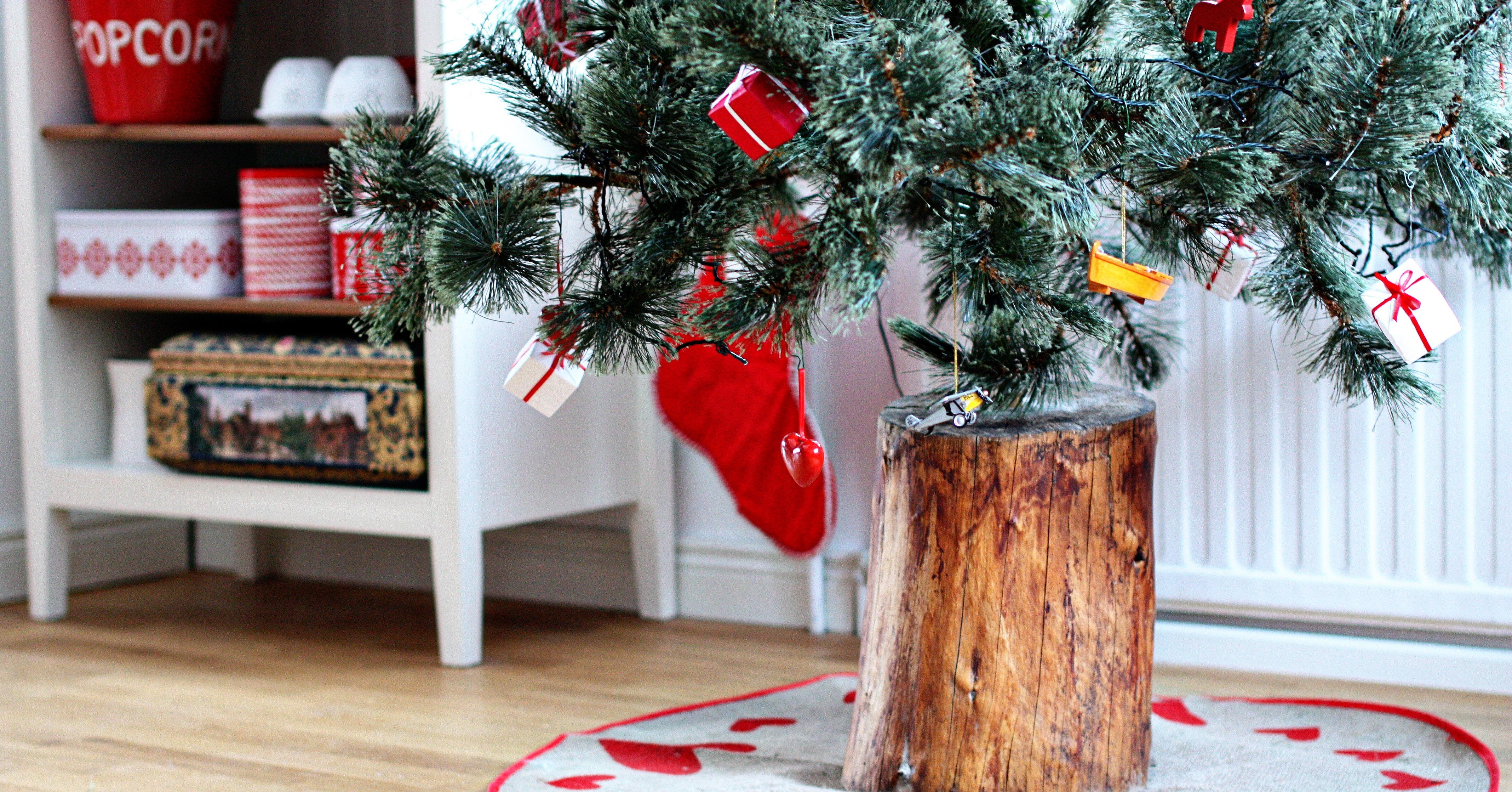 Log Christmas Tree Stand Fake