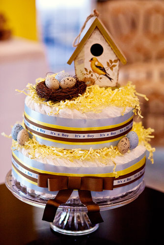 Bird-Themed Diaper Cake
