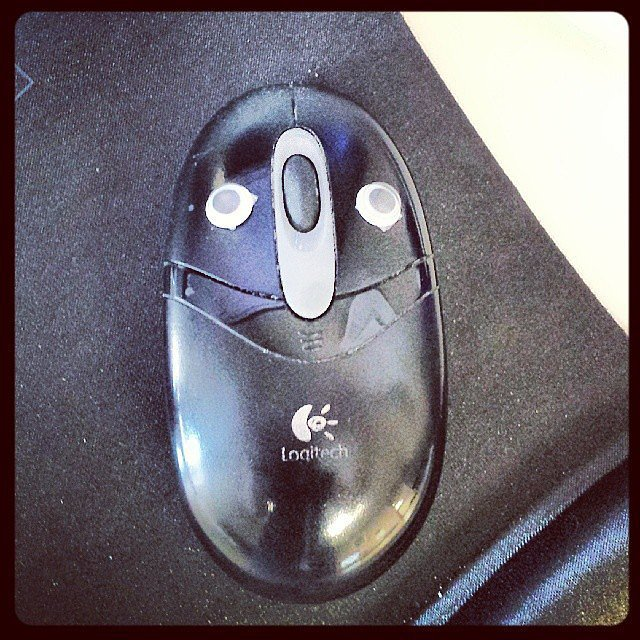 Glue googly eyes on the mouse.  Source: Instagram user jmacagnone