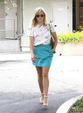 Reese Witherspoon in Floral Band of Outsiders Top and Turquoise Skirt