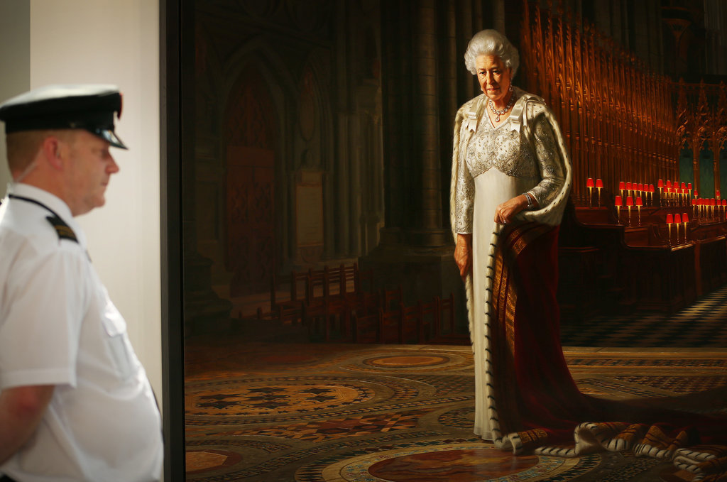 "This portrait called ""Glorious"" was commissioned for the Diamond Jubilee to show the queen in the later years of her 60-year reign. After it was vandalized, it went back on display in Westminster Abbey with extra security."