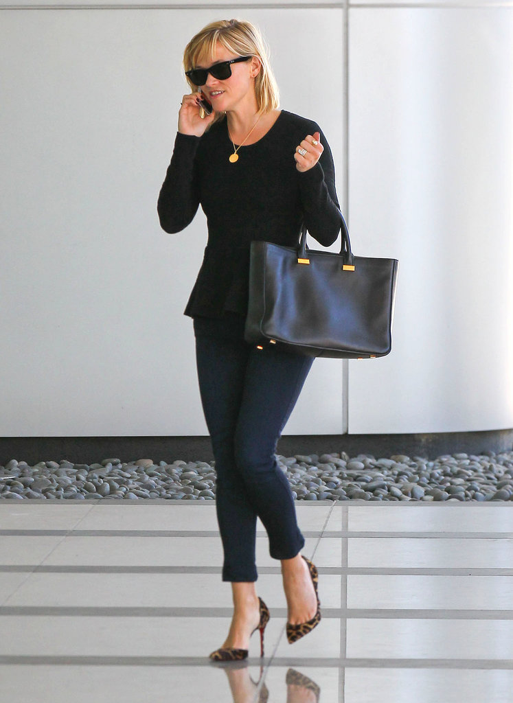 Reese Witherspoon in Leopard Christian Louboutin Pumps and Black The Row Tote