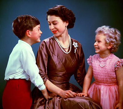 In 1954, the newly crowned Queen Elizabeth displayed her maternal side with Prince Charles and Princess Anne.  Source: Photo courtesy of The British Monarch