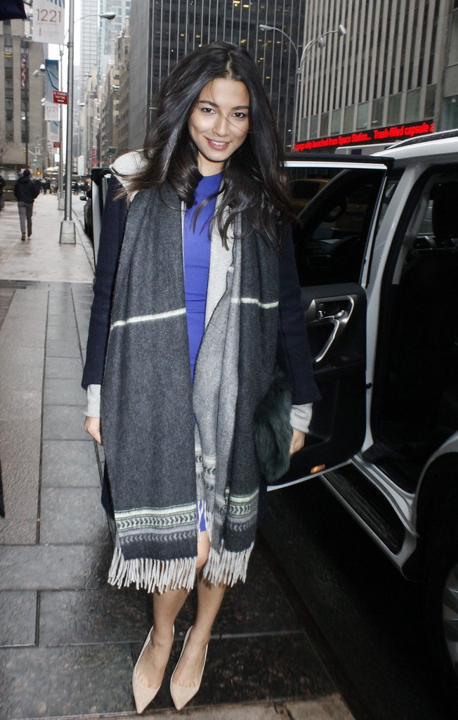 David Jones model Jessica Gomes kept cosy while running errands in Manhattan.