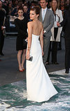 Emma Watson wore white to the London premiere of Noah on Monday night.