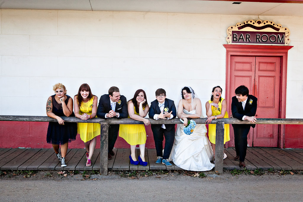 """We requested that the bridal party wear whatever shoes they wanted, so they could show off their personalities. The ladies ranged from Converse to four-inch platforms, but oddly enough, the two men bought the same pair of shoes — totally by accident."" Photo by G Aranow Photography"