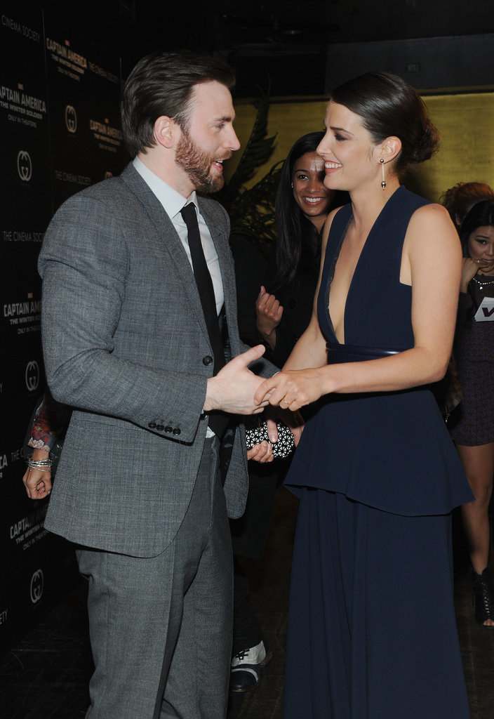 Cobie hung out with Chris Evans.