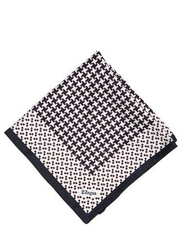 Zzegna - Houndstooth Printed Silk Pocket Square