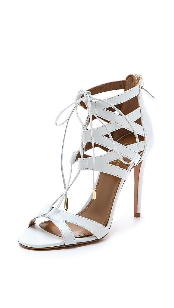 Aquazzura White Lace-Up Heels