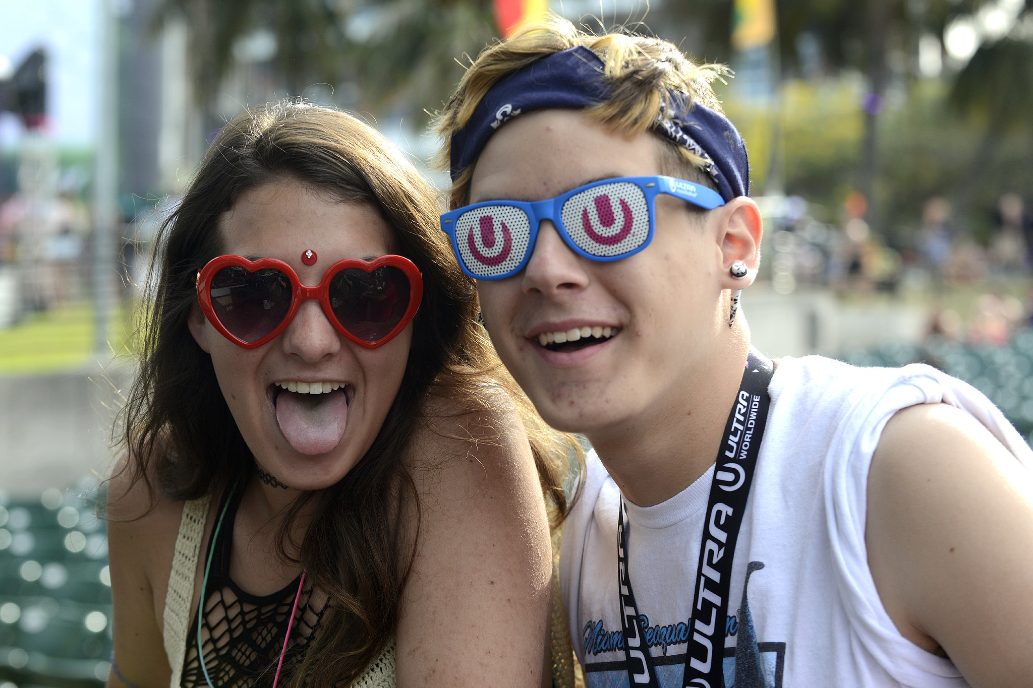 A pair got silly at the Ultra Music Festival in Miami, FL.