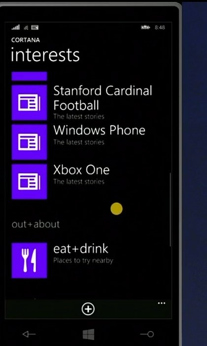 Cortana keeps track of interests.
