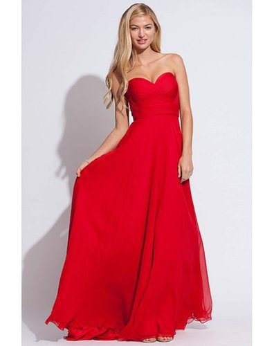 2014 Sweetheart Fitted Pleated Bodice A Line Court Train Red Prom DressesOutlet