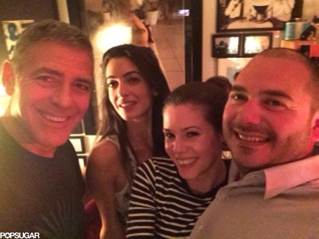 The couple took selfies with friends in March 2014.