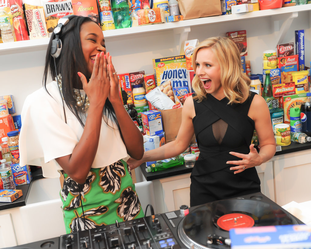Kristen Bell shared a laugh with DJ Kiss at American Express's #EveryDayMoments event in NYC on Wednesday.