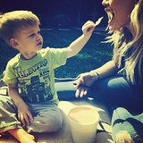 Luca Comrie turned the table around on his mom, Hilary Duff, and fed her some chips. Source: Instagram user hilaryduff