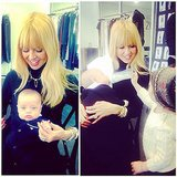 Rachel Zoe had a hand in feeding baby Kaius when big brother Skyler visited at work. Source: Instagram user rachelzoe