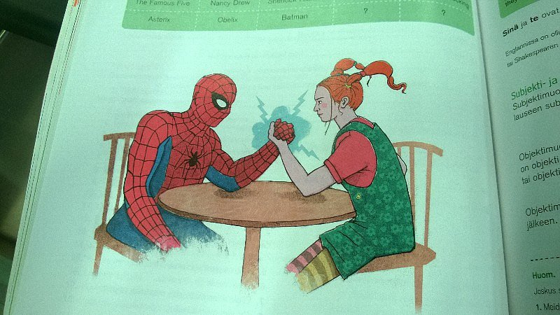 """There's a picture of Spider-Man and Pippi Longstocking arm wrestling in my English textbook."" Source: Reddit user falarikae via Imgur"