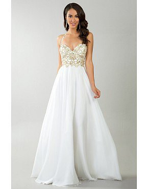 2014 White Halter Beaded Bodice A Line Shirred Chiffon Skirt Prom Dress