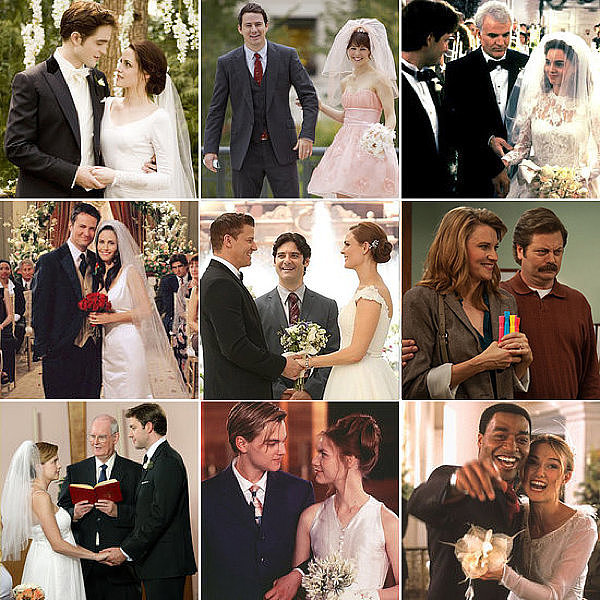 Whether the marriages lasted for minutes, for months, or never even happened, POPSUGAR Entertainment has compiled some of the best weddings from TV and movies. Take a trip down memory lane with all of these ceremonies, complete with gorgeous gowns, scenic locations, and sweet kisses!