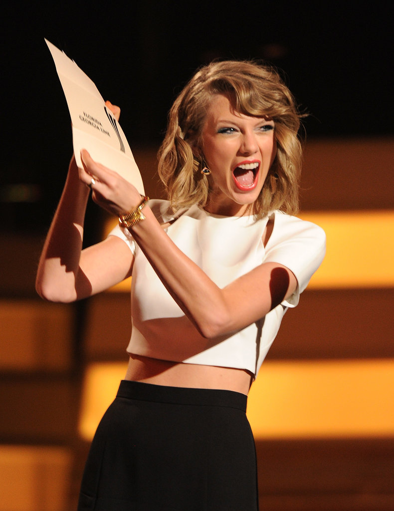 Taylor Swift brought her enthusiasm — and bare midriff! — to the Academy of Country Music Awards in Las Vegas on Sunday.