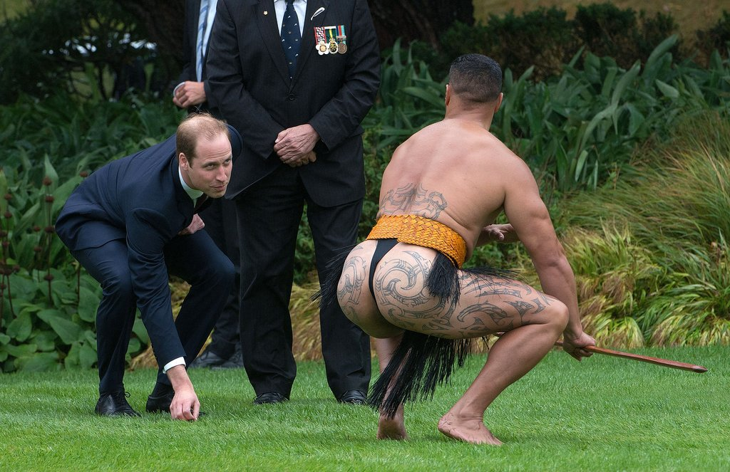 Prince William spent time with a Maori man during a ceremonial welcome in Wellington, New Zealand, on Monday.