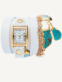 La Mer Durango White Watch With Turquoise Stones